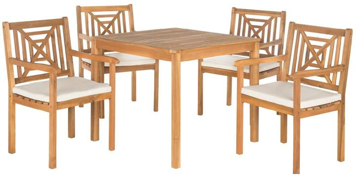 Most Recent Safavieh Del Mar Indoor / Outdoor Dining Table & Chair 5 Piece Set Inside Delmar 5 Piece Dining Sets (Gallery 16 of 20)