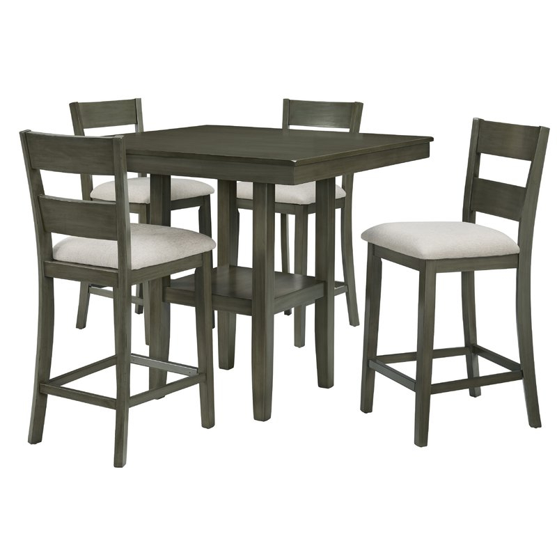 Most Recent Tenney 3 Piece Counter Height Dining Sets Intended For Gwyneth 5 Piece Counter Height Dining Set & Reviews (View 15 of 20)
