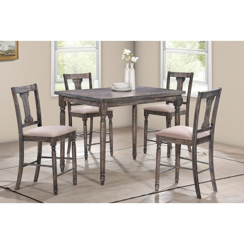 Most Recently Released Goodman 5 Piece Solid Wood Dining Sets (set Of 5) Inside Dunwoody 5 Piece Counter Height Pub Table Set & Reviews (View 9 of 20)