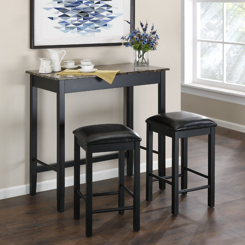 Most Up To Date Andover Mills Nutter 3 Piece Dining Set & Reviews (Gallery 2 of 20)