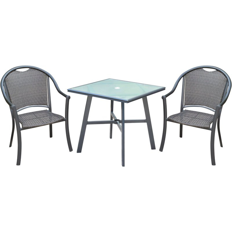 Most Up To Date Charlton Home Bearden 3 Piece Commercial Grade Patio Set With 2 Throughout Bearden 3 Piece Dining Sets (View 4 of 20)