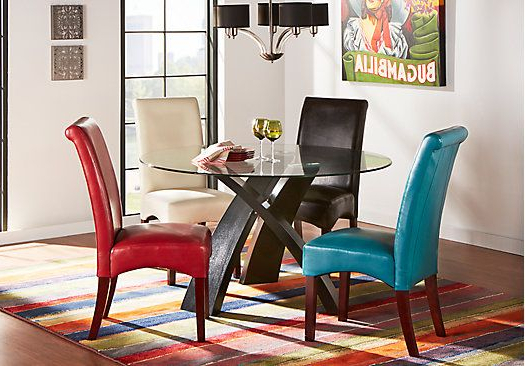 Most Up To Date Del Mar Ebony 5 Pc Round Dining Set With Gray Chairs (View 13 of 20)