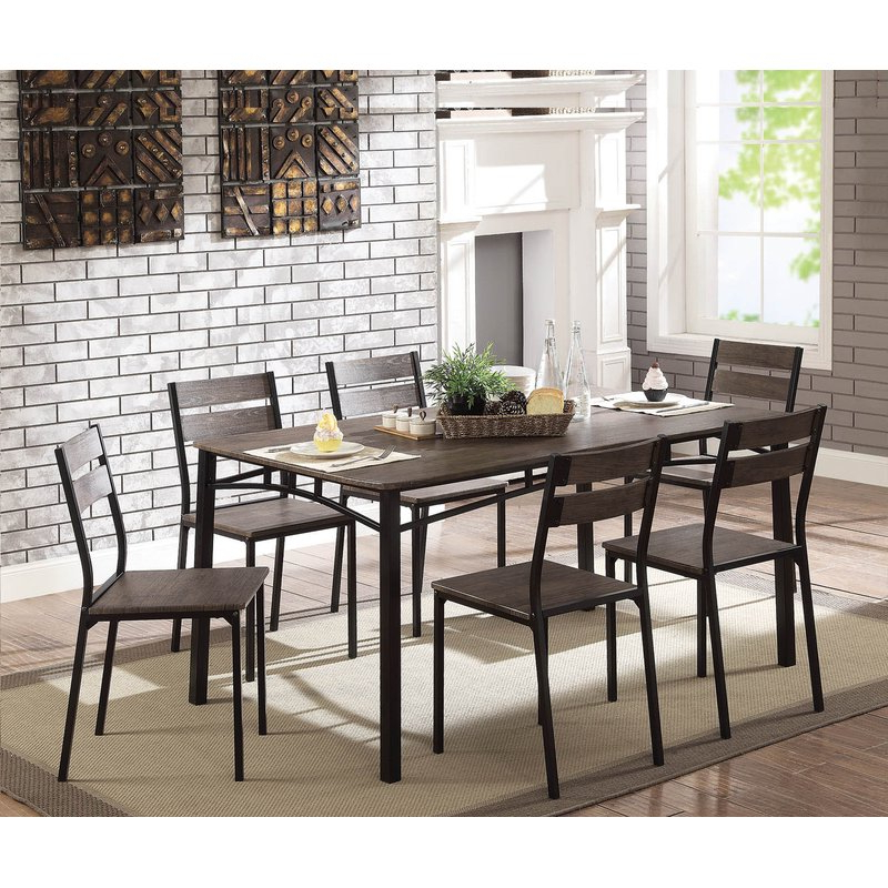 Most Up To Date Gracie Oaks Autberry 7 Piece Dining Set & Reviews (View 11 of 20)