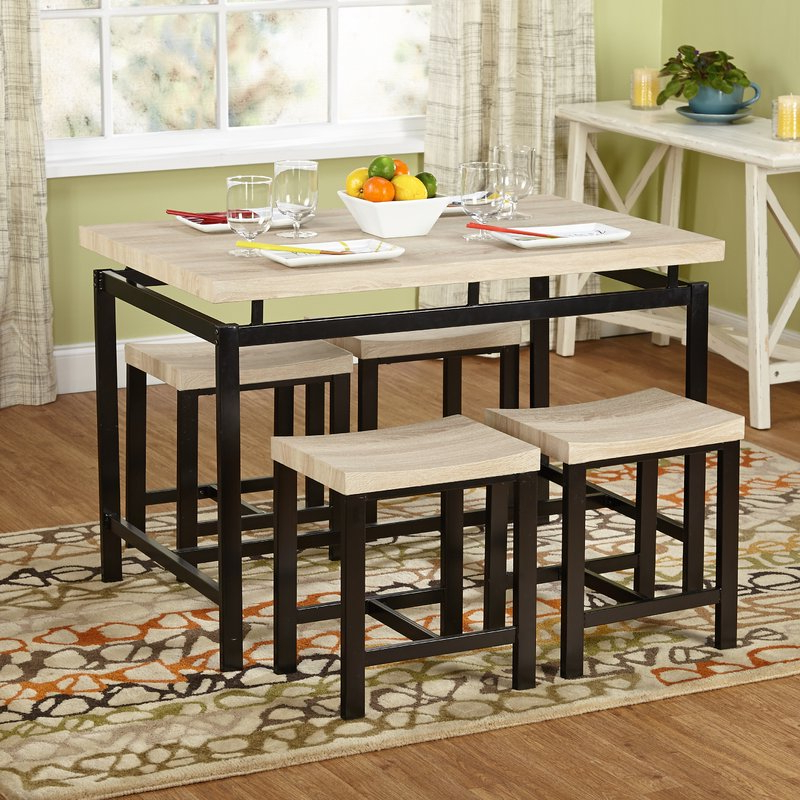 Most Up To Date Kerley 4 Piece Dining Sets In Bryson 5 Piece Dining Set & Reviews (View 13 of 20)