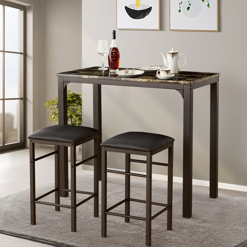 Most Up To Date Moorehead 3 Piece Counter Height Dining Sets Pertaining To Fleur De Lis Living Tappahannock 3 Piece Counter Height Dining Set (View 14 of 20)
