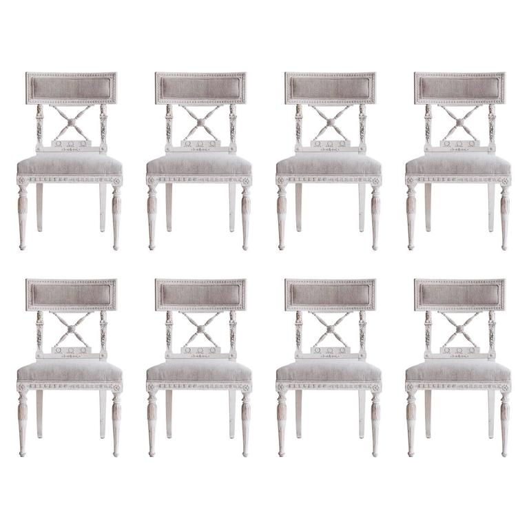 Most Up To Date Set Of Eight Swedish 19th Century Gustavian Dining Chairs For Sale Pertaining To Ephraim 5 Piece Dining Sets (View 14 of 20)