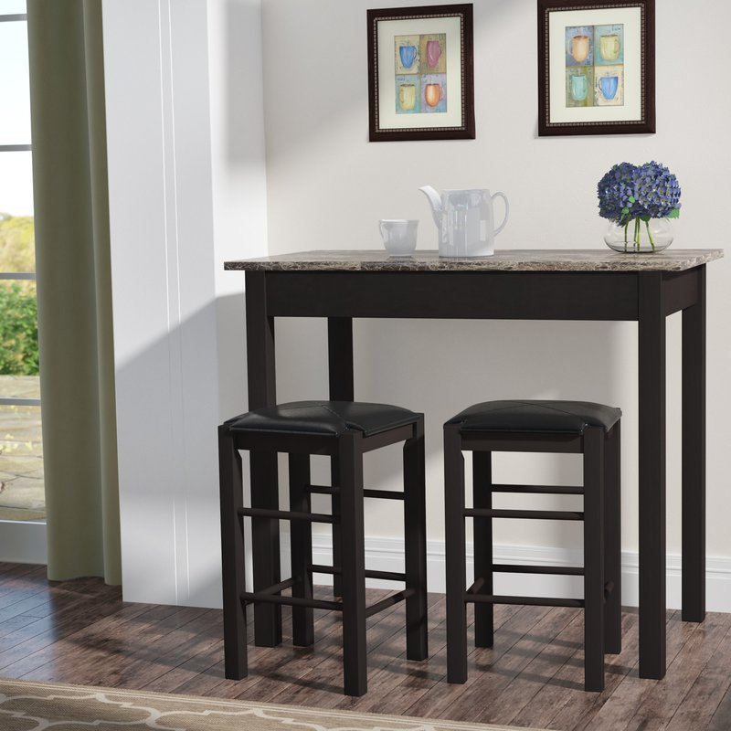 Most Up To Date Tappahannock 3 Piece Counter Height Dining Sets Intended For Winston Porter Sheetz 3 Piece Counter Height Dining Set & Reviews (View 9 of 20)