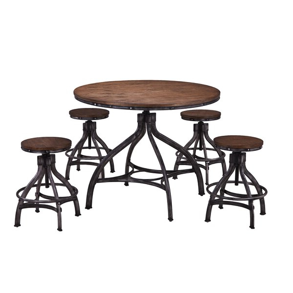 Most Up To Date Wellman 5 Piece Adjustable Pub Table Setwilliston Forge Best #1 Inside Valladares 3 Piece Pub Table Sets (Gallery 17 of 20)