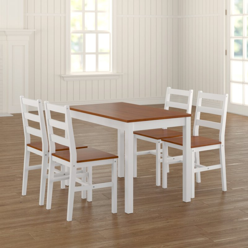Featured Photo of Yedinak 5 Piece Solid Wood Dining Sets