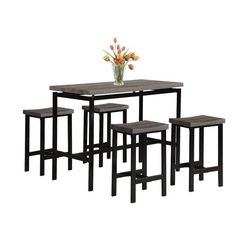 Mysliwiec 5 Piece Counter Height Breakfast Nook Dining Sets Intended For Fashionable Wrought Studio Denzel 5 Piece Counter Height Breakfast Nook Dining (View 14 of 20)