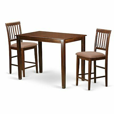 Natural Solid Wood 3 Piece Counter Height Dining Set (Gallery 4 of 20)