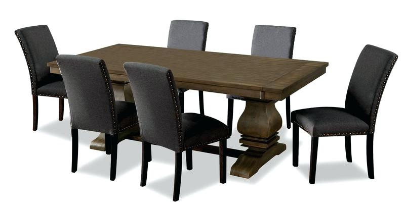 Newest Dark Brown Dining Table With Grey Chairs Black Room Distressed And Pertaining To Calla 5 Piece Dining Sets (View 10 of 20)