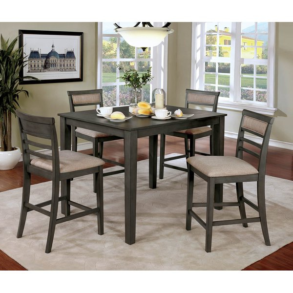Newest Maynard 5 Piece Dining Sets With Regard To Hansford Wooden 5 Piece Counter Height Dining Table Setred (View 17 of 20)