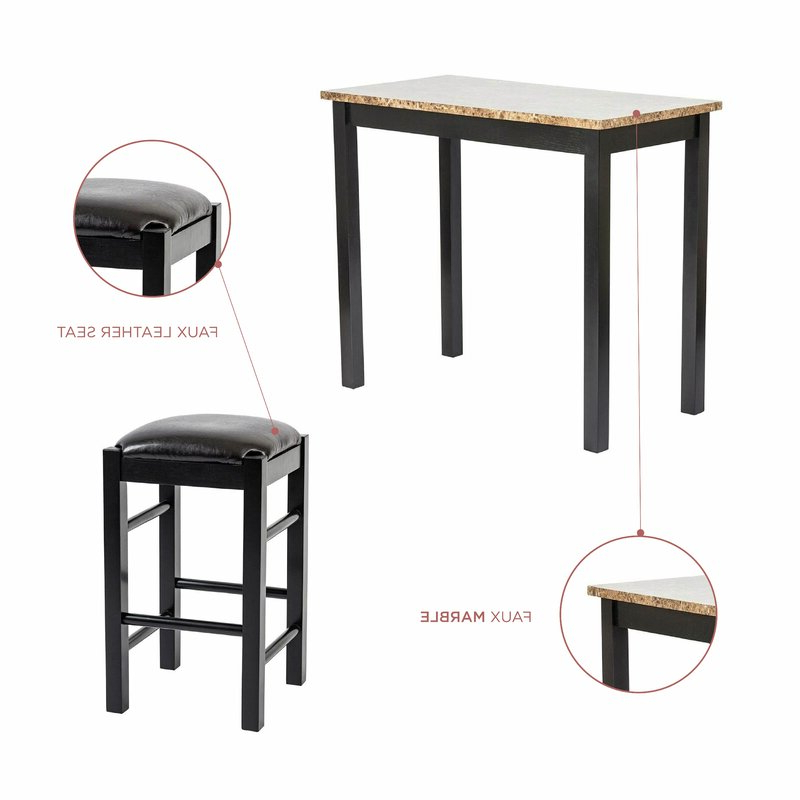 Newest Moorehead 3 Piece Counter Height Dining Sets Inside Winston Porter Moorehead 3 Piece Counter Height Dining Set & Reviews (View 2 of 20)