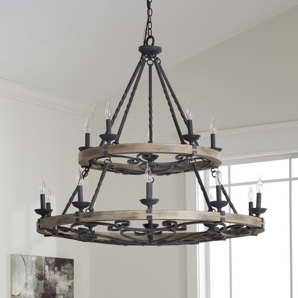 Newest Shop Kichler Lighting Taulbee Collection 15 Light Weathered Zinc Regarding Taulbee 5 Piece Dining Sets (View 11 of 20)