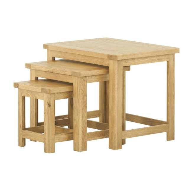 Northwood Nest Of Tables In Oak – Furniture – Solent Beds Limited With Regard To Current Northwoods 3 Piece Dining Sets (View 19 of 20)