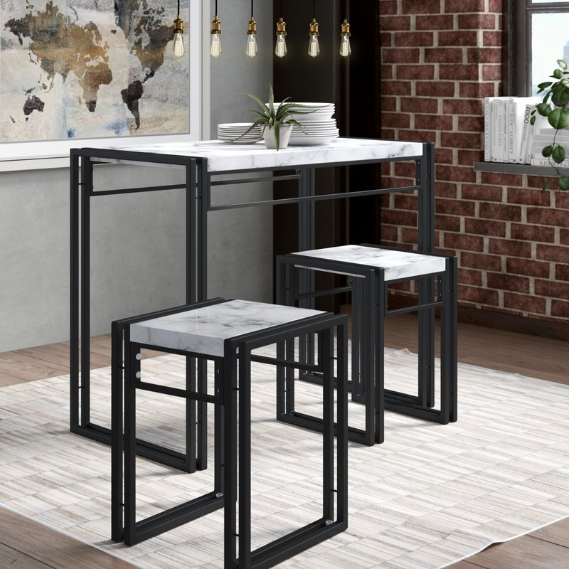 Nutter 3 Piece Dining Sets Inside Well Known Williston Forge Debby Small Space 3 Piece Dining Set & Reviews (View 5 of 20)
