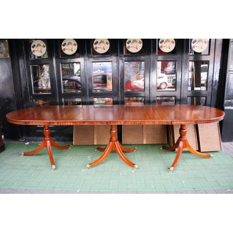 Old Regency 3 Pedestals Dining Table – London Gallery – Canapés Et Sofas Intended For Latest Lonon 3 Piece Dining Sets (View 17 of 20)