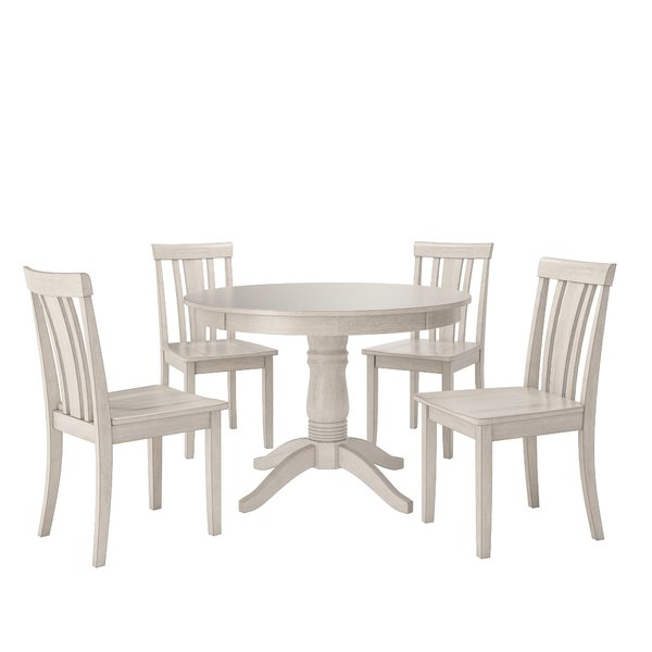 Outdoor Bistro Tables Throughout Well Known Adan 5 Piece Solid Wood Dining Sets (Set Of 5) (View 14 of 20)