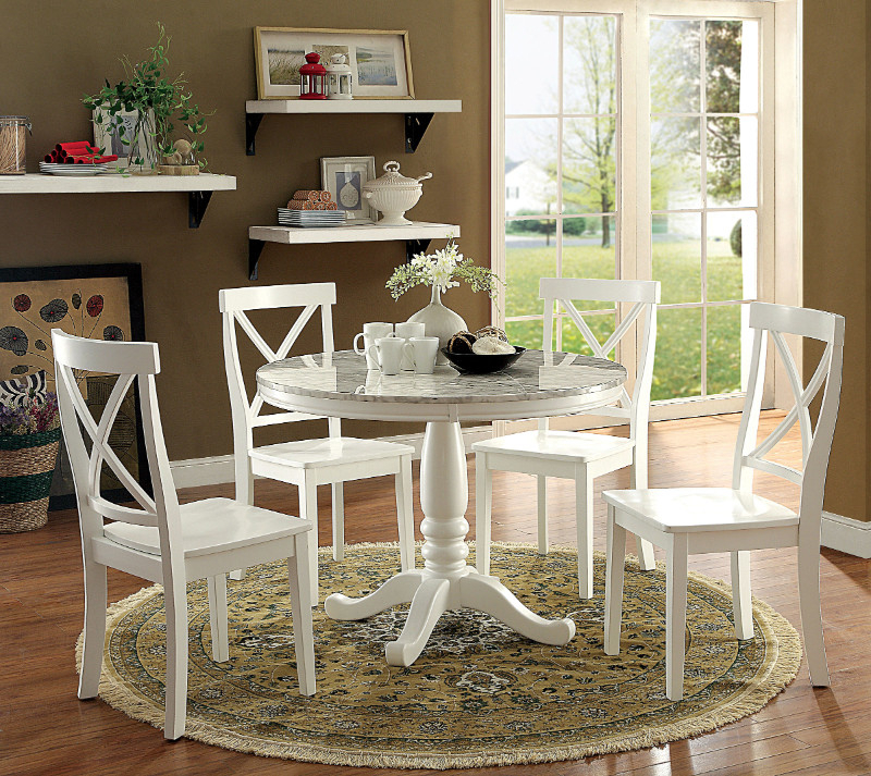 """Penelope 3 Piece Counter Height Wood Dining Sets With 2020 Cm3546Rt  5 Pc Penelope White Finish Wood And Faux Marble 42"""" Round (View 13 of 20)"""