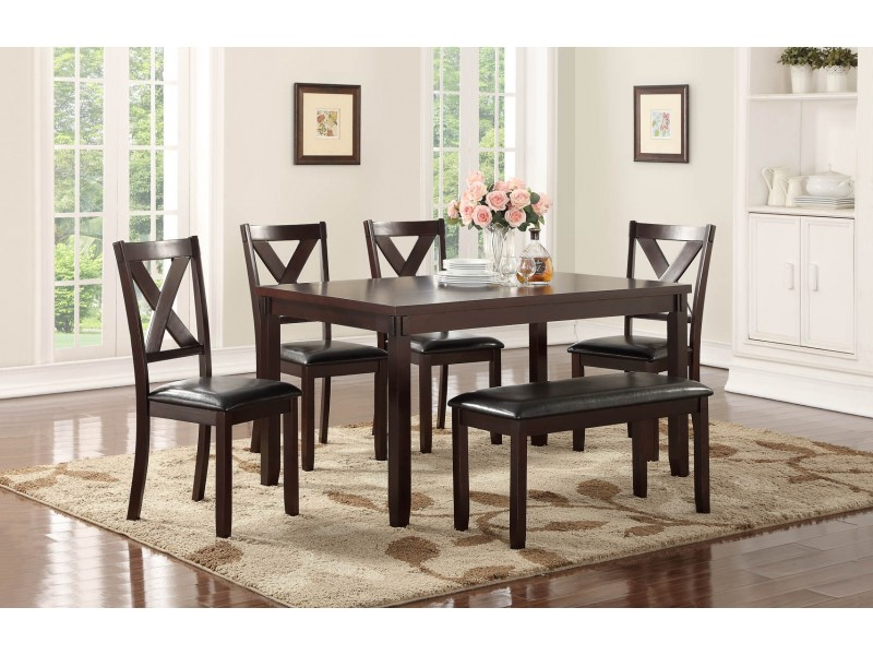 Penelope 3 Piece Counter Height Wood Dining Sets With 2020 Penelope Collection 6 Pc Dining Set With Bench (Gallery 19 of 20)