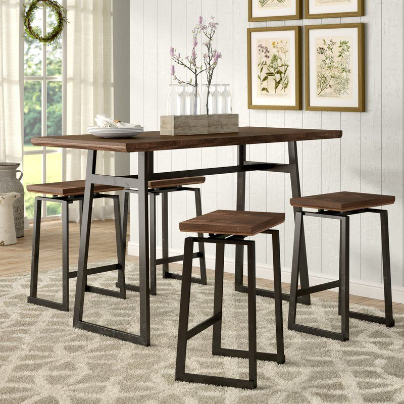 Platane Industrial 5 Piece Counter Height Dining Set In  (View 14 of 20)