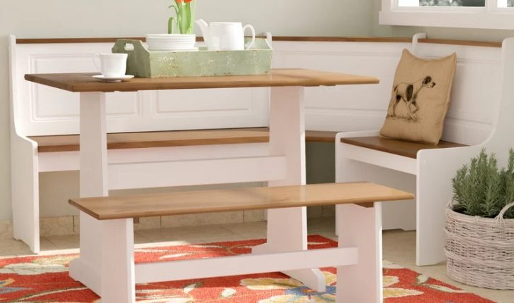 Popular 3 Piece Breakfast Dining Sets Inside Birtie 3 Piece Breakfast Nook Dining Setaugust Grove Review (View 6 of 20)