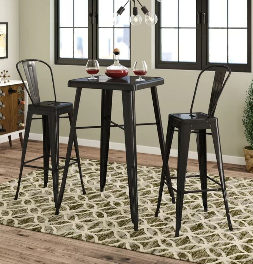 Popular 3Pce Bar Table Set Bistro Pub Metal Table 2 Barstools Square Indoor Inside Weatherholt Dining Tables (View 12 of 20)
