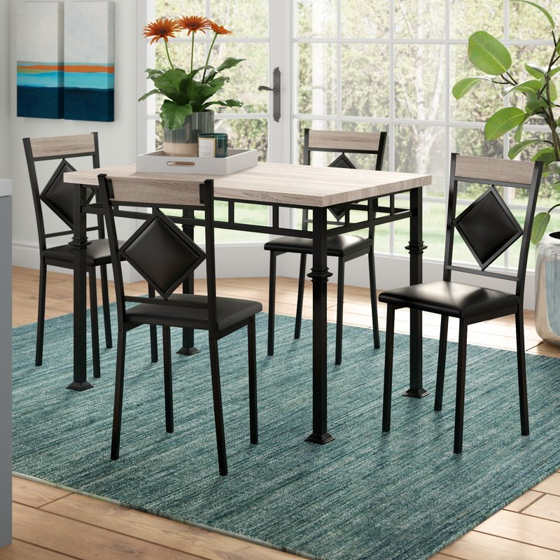 Popular Ebern Designs Tavarozzi 5 Piece Dining Set & Reviews (View 15 of 20)