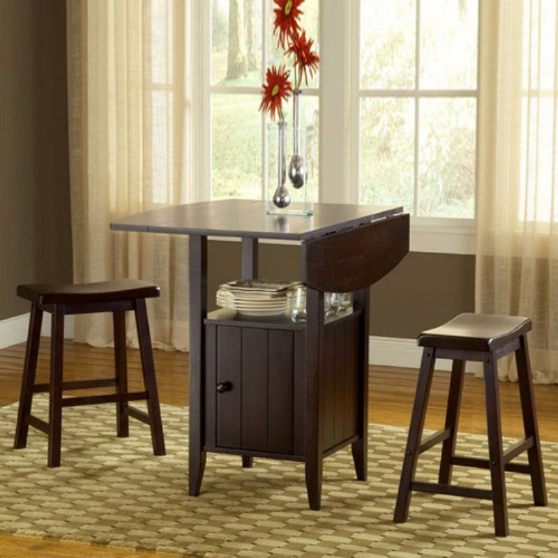 Popular New London 3 Piece Drop Leaf Dining Set With Storage – 5014 With Regard To Lonon 3 Piece Dining Sets (Gallery 1 of 20)
