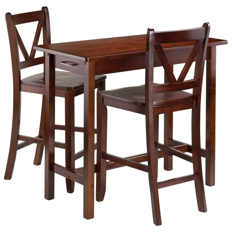 Popular Winsome 3 Piece Counter Height Dining Sets With Regard To Winsome Sally 3 Piece Counter Height Dining Set In Walnut – (View 5 of 20)
