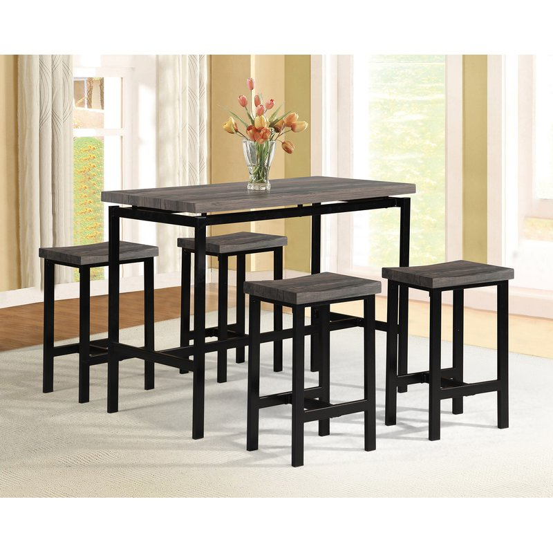 Popular Wrought Studio Denzel 5 Piece Counter Height Breakfast Nook Dining Intended For Mysliwiec 5 Piece Counter Height Breakfast Nook Dining Sets (View 16 of 20)