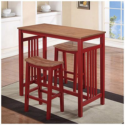 Preferred 3 Piece Breakfast Dining Sets For 3 Piece Red Breakfast Dining Set At Big Lots To Place Against (View 4 of 20)
