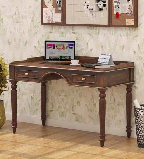 Preferred Buy Evelyn Solid Wood Study Table With Drawers In Provincial Teak Intended For Evellen 5 Piece Solid Wood Dining Sets (Set Of 5) (Gallery 17 of 20)