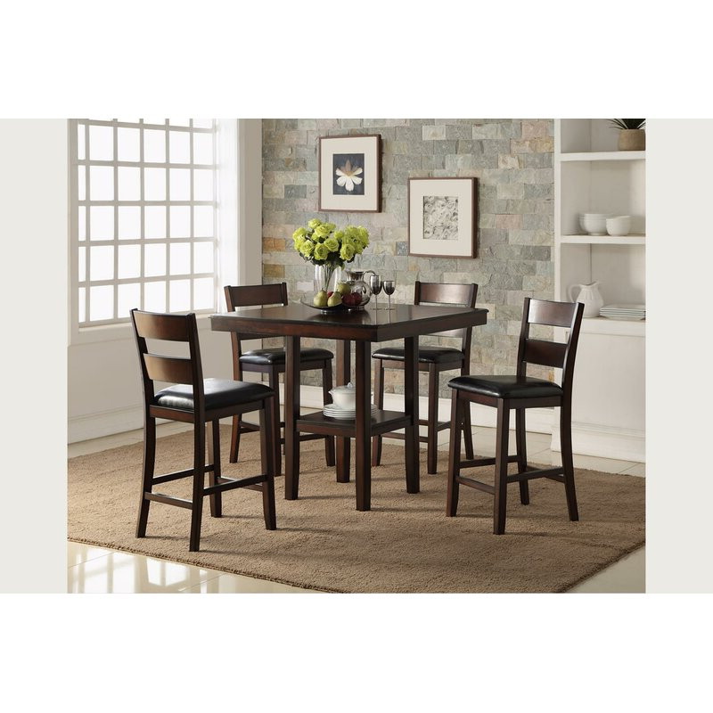 Preferred Cromwell Counter 5 Piece Breakfast Nook Solid Wood Dining Set For 5 Piece Breakfast Nook Dining Sets (View 11 of 20)