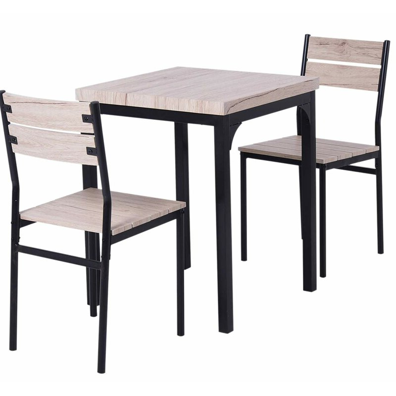 Preferred Gracie Oaks Staley Rustic Country 3 Piece Dining Set (View 5 of 20)