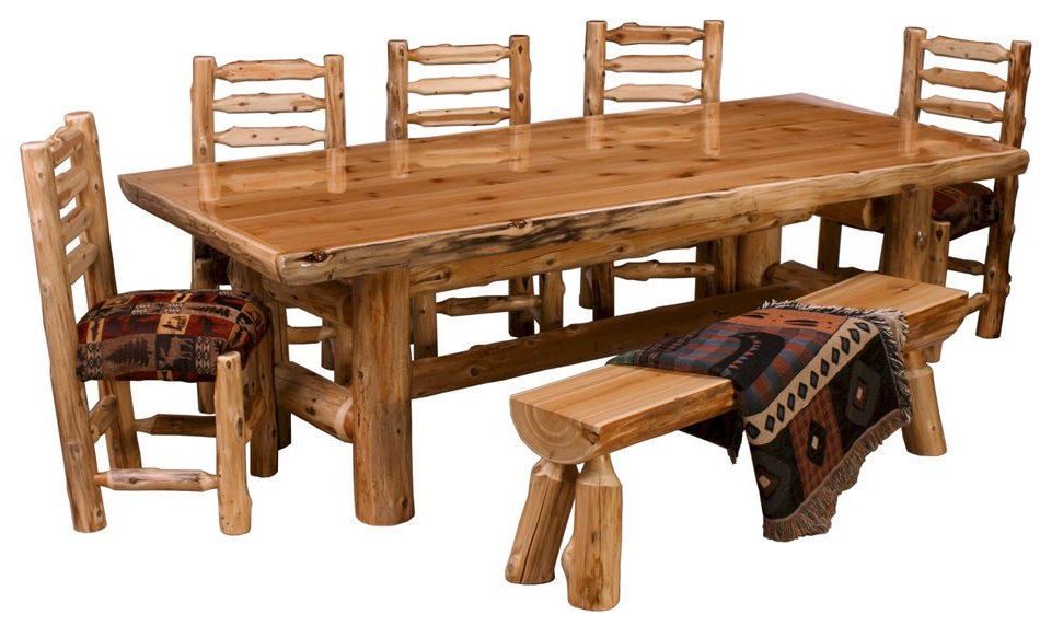 Preferred Northwoods 3 Piece Dining Sets Regarding Details About Northern Cedar Log Dining Table Real Wood High Quality (View 12 of 20)