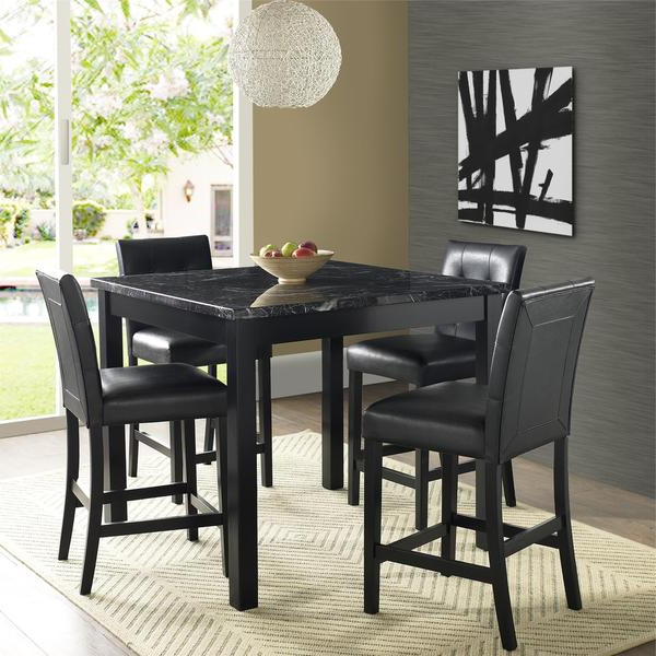 Preferred Shop Gracewood Hollow Khorenatsi Faux Marble Counter Height Dining With Bettencourt 3 Piece Counter Height Solid Wood Dining Sets (Gallery 17 of 20)