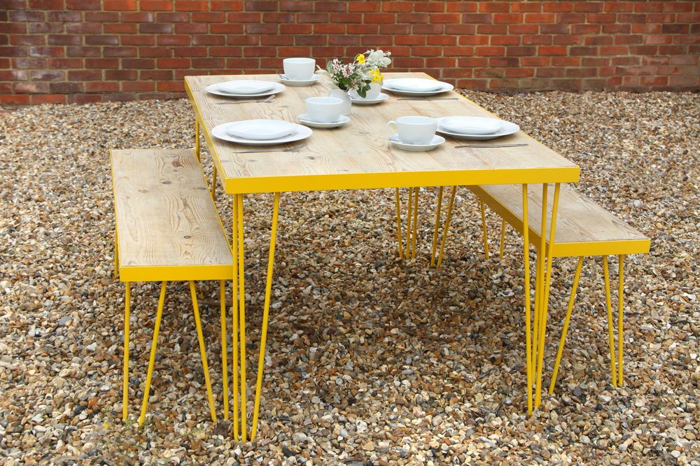 Queener 5 Piece Dining Sets For 2020 Hairpin Leg, Table And Benches Yellow, Vintage,retro Style Reclaimed (View 11 of 20)
