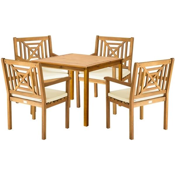 Recent Delmar 5 Piece Dining Sets Regarding Shop Safavieh Outdoor Living Del Mar Brown Acacia Wood 5 Piece Beige (View 7 of 20)