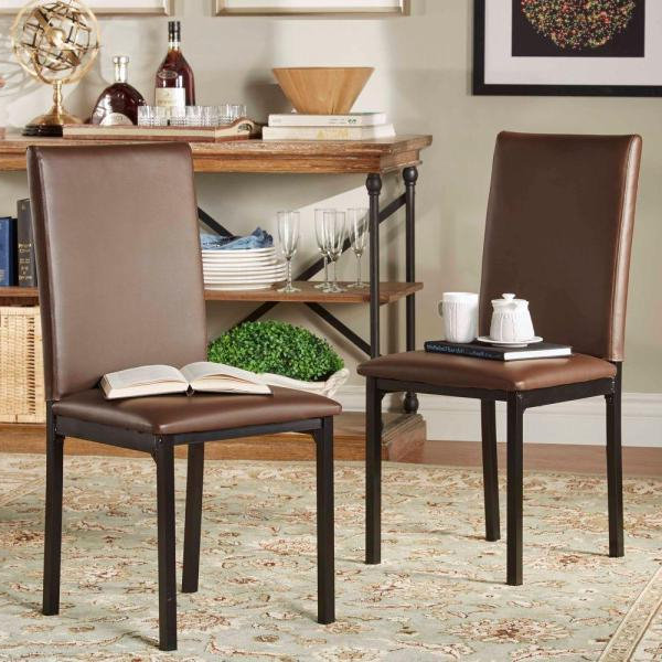 Recent Homesullivan Bedford Brown Faux Leather Dining Chair (set Of 2 With Bedfo 3 Piece Dining Sets (View 11 of 20)