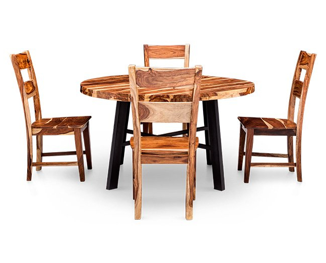 Recent Nepali 5 Pc. Round Dining Room Set – Furniture Row In Askern 3 Piece Counter Height Dining Sets (Set Of 3) (Gallery 17 of 20)