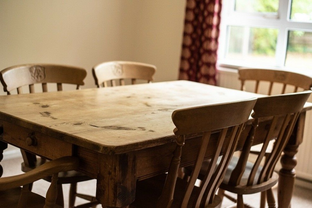 Reclaimed Pine Farmhouse Table And Six Chairs (2 With Arms) – £150 Within Favorite Northwoods 3 Piece Dining Sets (View 10 of 20)