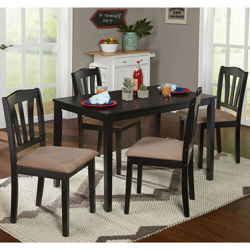 Rectangle Dining Set Wood Kitchen Indoor 5Piece Water Resistant With 2020 Tejeda 5 Piece Dining Sets (View 15 of 20)