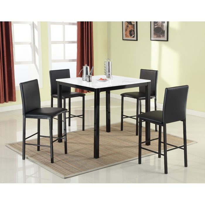 Red Barrel Studio Ariandne Faux Marble 5 Piece Counter Height Dining For Latest Aria 5 Piece Dining Sets (View 7 of 20)