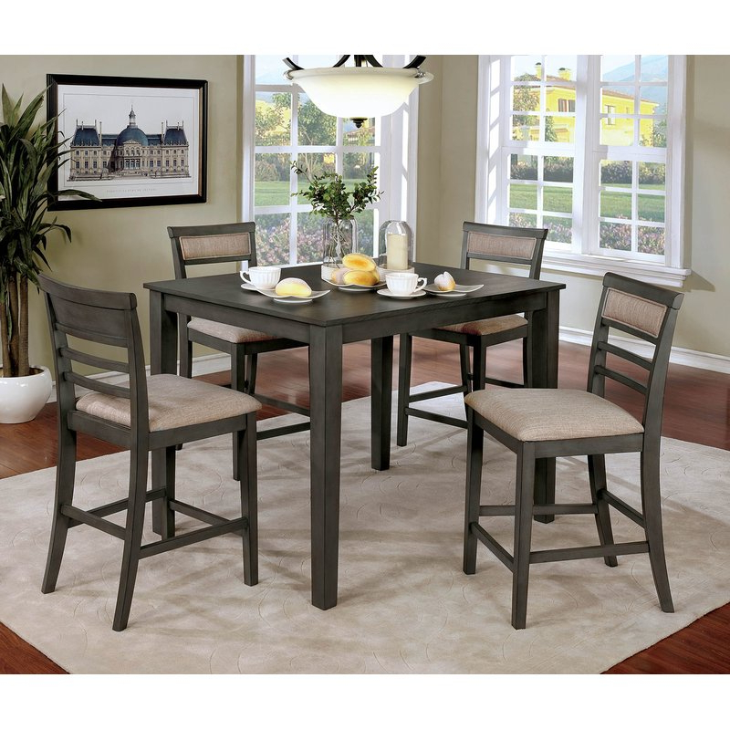 Red Barrel Studio Hansford Wooden 5 Piece Counter Height Dining Pertaining To Widely Used Hanska Wooden 5 Piece Counter Height Dining Table Sets (Set Of 5) (View 13 of 20)