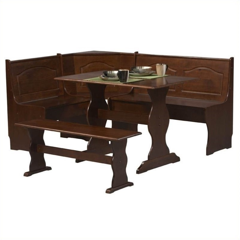Riverbay Furniture 3 Piece Breakfast Nook Set In Walnut – Rf 367579 In Most Up To Date 3 Piece Breakfast Nook Dinning Set (View 17 of 20)