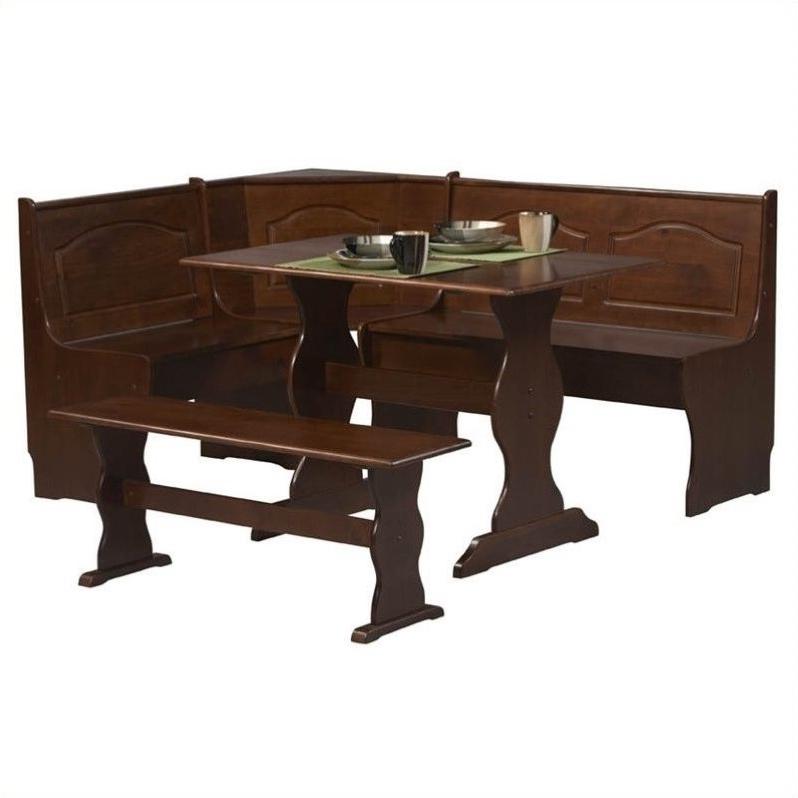 Riverbay Furniture 3 Piece Breakfast Nook Set In Walnut – Rf 367579 In Most Up To Date 3 Piece Breakfast Nook Dinning Set (View 10 of 20)