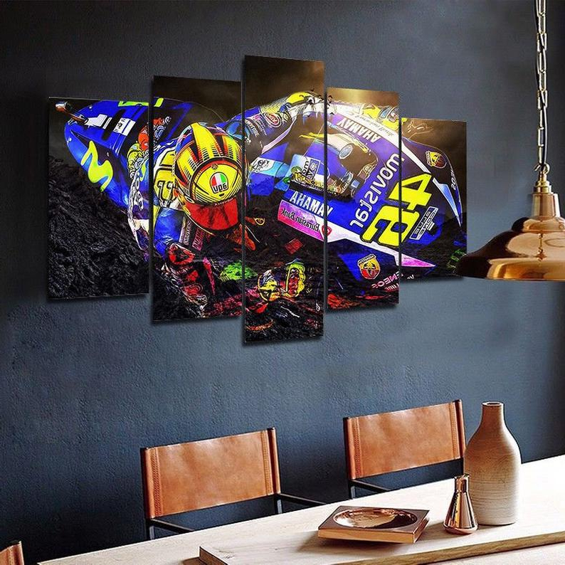 Rossi 5 Piece Dining Sets With Regard To Fashionable Valentino Rossi 46 Motogp Yamaha Framed. 5 Piece Canvas (View 13 of 20)