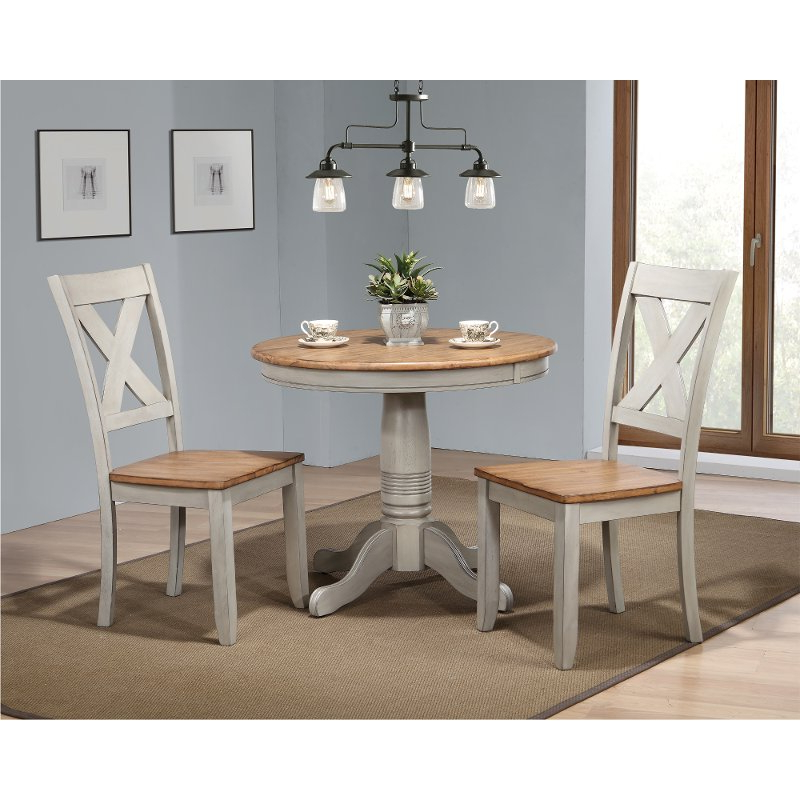 Rustic Gray And Brown 3 Piece Round Dining Set – Barnwell (View 2 of 20)